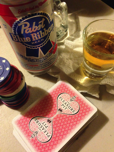 Chips, cards and whiskey are all one needs to play a proper game of poker.